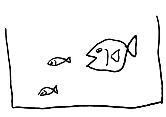 水槽の中の大きな魚と小さな魚